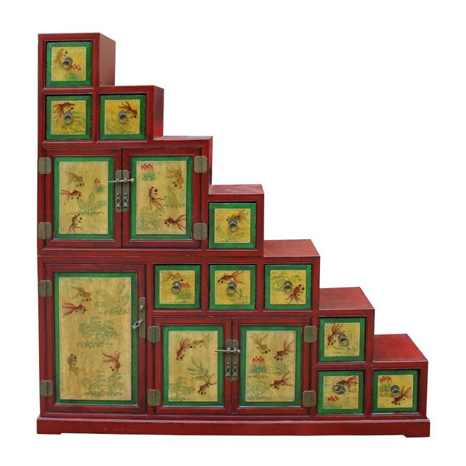 Chinese Distressed Red Yellow Fishes Graphic Tansu Step Cabinet cs5012S