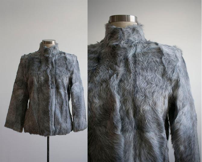 1970s Fur Coat / Cropped Fur Coat / Gray Fur Coat / Vintage Fur Jacket / 1970s Fur Coat by milkandice