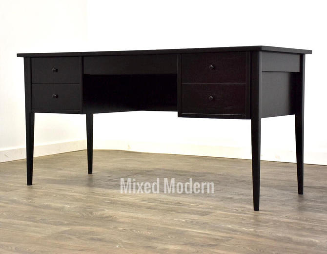 Black Lacquer Mid Century Desk by mixedmodern1