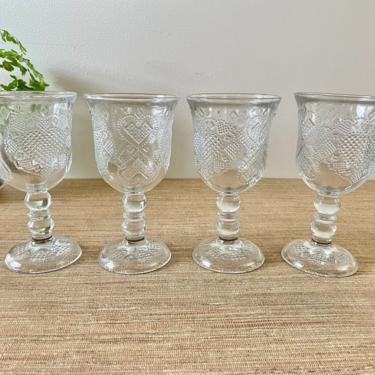 Vintage Globlets - Avon 1978 Fostoria Glass Co. - Pressed Glass Water Goblets - Heart & Diamond Loving Cup Goblets - Set of 4-Glass Stemware by SoulfulVintage