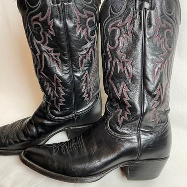 Black & red leather Justin cowboy boots~ men's size 7 D~ unisex androgynous style~ women's size 9 ~ vintage western rock n roll ~timeless by HattiesVintagePDX