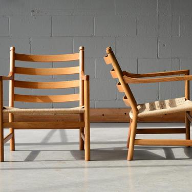 Hans Wegner CH44 Lounge Chairs Oak Mid Century Danish Modern - A PAIR by MadsenModern