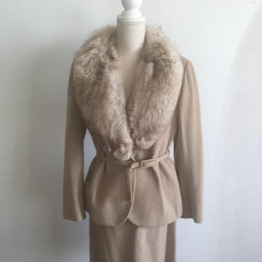 Glamorous Regency for Neiman Marcus Cashmere Fox Skirt Suit by GILDADesignerThrift