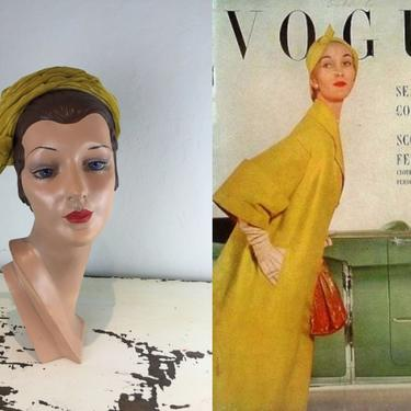 To the Sea & Country - Vintage 1950s 1960s Mustard Yellow Velvet Gathered Cloche Dome Hat by RoadsLessTravelled2