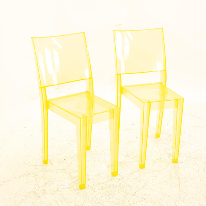 Philippe Starck for Kartell La Marie Mid Century Yellow Acrylic Dining Chairs - Pair - mcm by ModernHill
