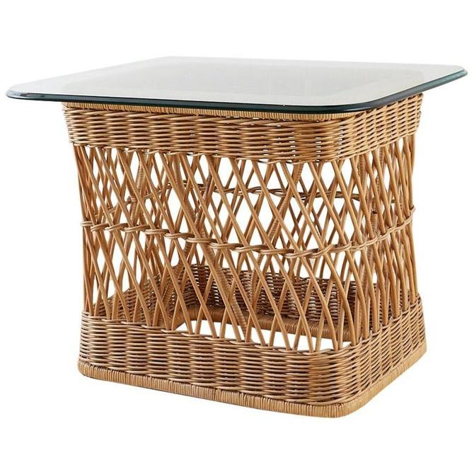 McGuire Organic Modern Rattan Wicker Coffee Cocktail Table by ErinLaneEstate