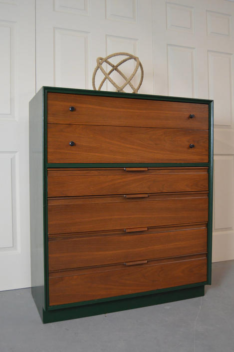 Mcm Chest Dresser American Of Martinsville Two Tone Tall
