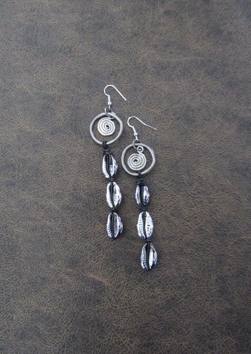Cowrie shell earrings, gunmetal earrings, gray earrings, long black Afrocentric African tribal dangle earrings, abstract goth earrings 4 by Afrocasian