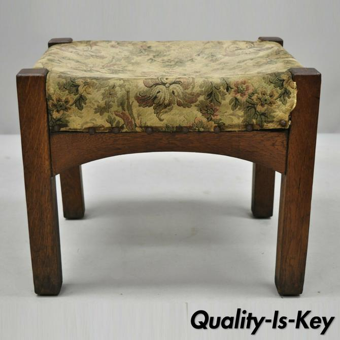 Antique Mission Oak Arts & Crafts Solid Oak Wood Stickley Style Stool Ottoman
