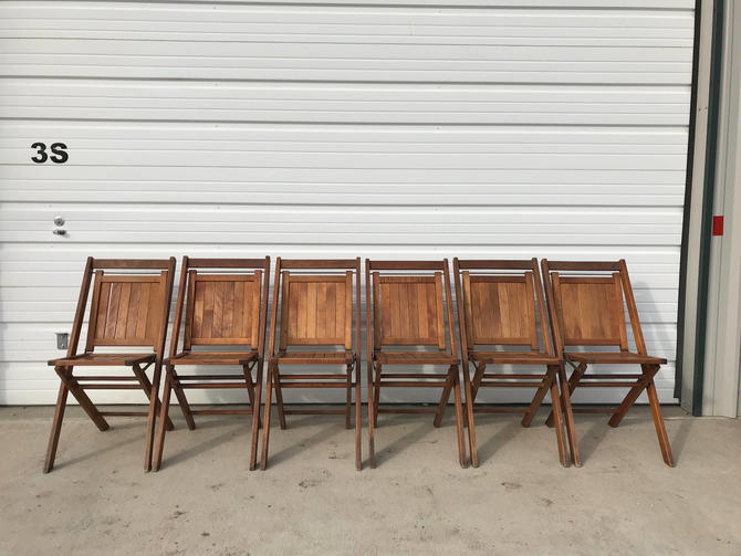 Wondrous Folding Chairs Set Vintage Antique Dfw Waiting Room Theater Stadium Seats Row Wood Rustic Farmhouse Primitive Seating Chair Bench Country By Gmtry Best Dining Table And Chair Ideas Images Gmtryco