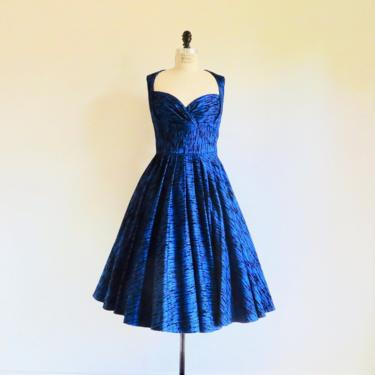"""Vintage 1950's Style Cobalt Blue Black Velvet Flocked Evening Fit and Flare Dress Sweetheart Neckline Cocktail Party 30"""" Waist Medium by seekcollect"""