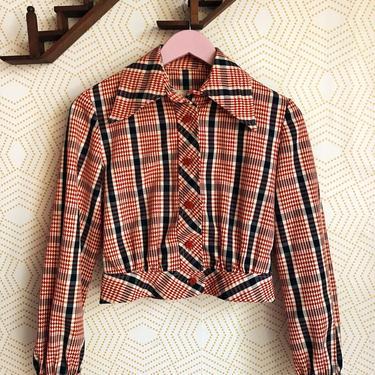 1970s Mindy Malone Crop Jacket, Vintage Crop Jacket, Vintage 70s Jacket, Red White and Blue Crop Jacket, 70s Jacket, 1970s Fashion by FolkandCup