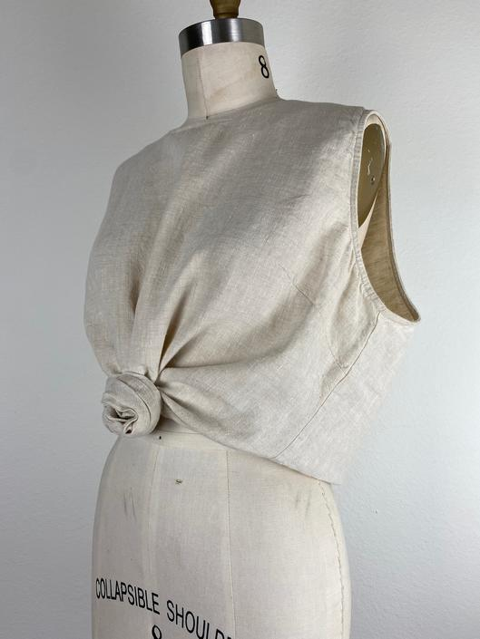 vintage beige linen sleeveless blouse size xl by miragevintageseattle
