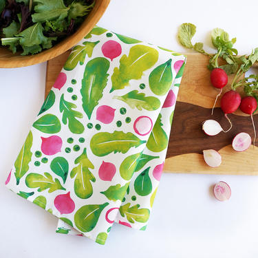 Spring salad tea towel • watercolor lettuce greens and radishes by TheAhlgrenCollage