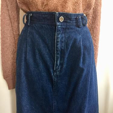 Vintage 80's LIZ CLAIBORNE Denim Midi Skirt / High Waist + Trouser Style / POCKETS by CharmVintageBoutique