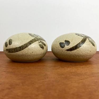Danish Modern pair of Ravnild Denmark weed pots / studio pottery ceramic bud vases or candleholders / signed Scandinavian art pottery by EarthshipVintage
