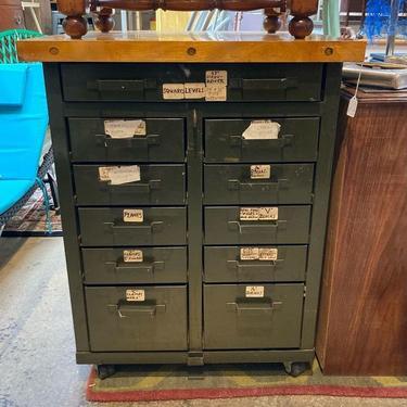 Butcher block metal cabinet on wheels 28 x 27 deep x 36 high