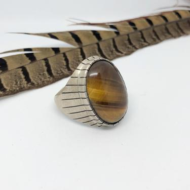 EYE of THE TIGER Ray Jack Silver Navajo Native American Tigers Eye Ring | Tigers Eye Stone | Southwestern Mens Statement Jewelry | Size 13 by lovestreetsf