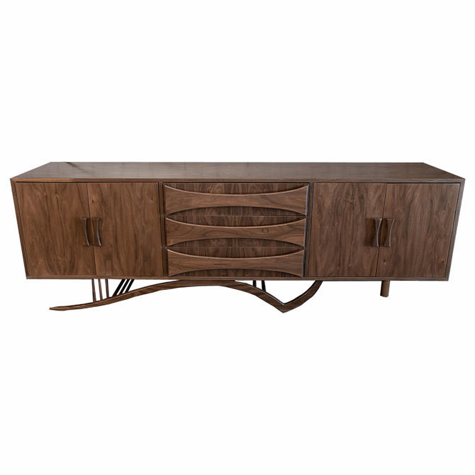 Custom Mid Century Style Walnut Sideboard with Curved Leg and Three Drawers