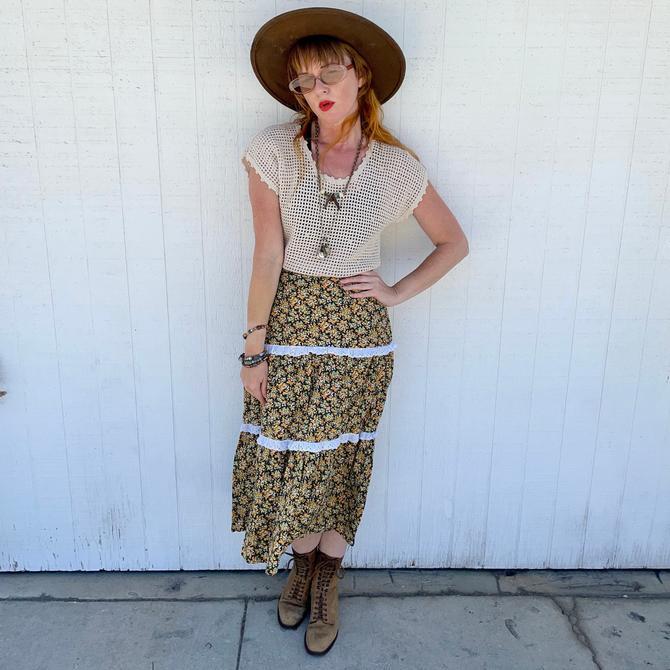 Vintage Prairie Skirt Cottagecore Clothing 70s Hippie Clothes by LoveItShop