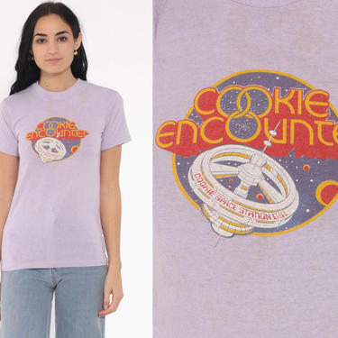 Spaceship Shirt COOKIE ENCOUNTER Space Station Nasa Outer Space T Shirt Vintage 80s Tshirt Tee Astronaut Lavender Purple Extra Small xs by ShopExile