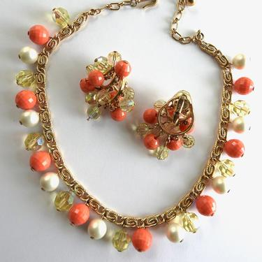1960s Trifari Coral Lucite Yellow Crystal and Faux Pearl Gold tone Set of Necklace and Earrings by LegendaryBeast