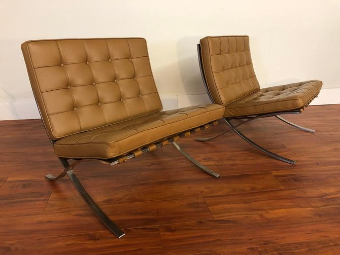 Barcelona Chairs by Mies Van Der Rohe for Knoll - a Pair by Vintagefurnitureetc