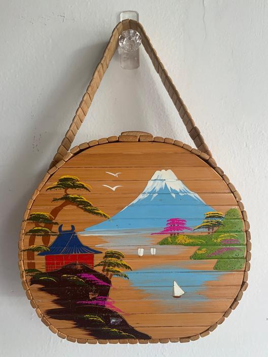 Amazing 1940s WWII Mount Fuji Hand Painted Bamboo Box Purse Vintage Japan Rockabilly Pinup by AmalgamatedShop