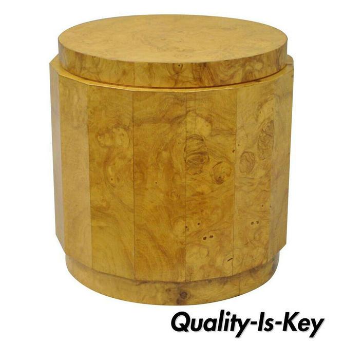 Edward Wormley Dunbar Burl Wood Pedestal Accent Drum Table 6302F Mid Century