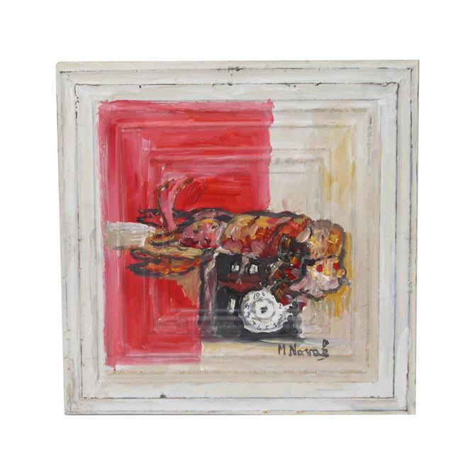 Handmade Lobster Mladen Novak Tin Panel Painting