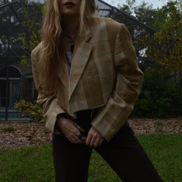 Vintage Cropped Blazer / Vintage Oversized Cropped Blazer / Vintage Tan Blazer / Vintage Plaid Blazer / Vintage Oversized Sportcoat / M L XL by memoryjunkievintage