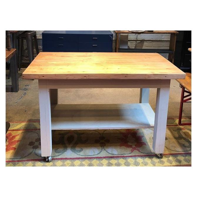 Butcher block one tier work table / kitchen island on wheels 48 W x 25.3 D x 31.5 H