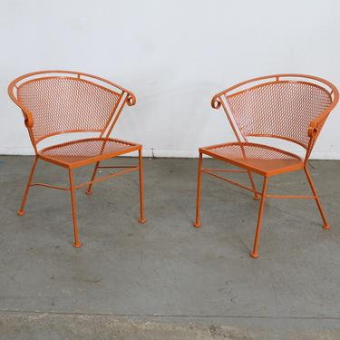 Pair of Mid-Century Modern Atomic orange Outdoor Metal Curved Back Chairs by AnnexMarketplace