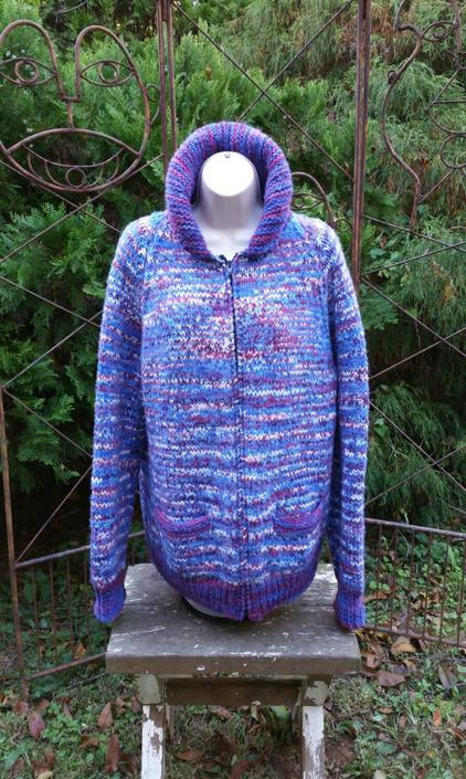 Chunky Sweater Coat, Loose Knit Sweater, Oversized Sweater L, Chunky Cardigan Zip Up Sweater, Loose Wool Sweater, Vintage Chunky Sweater by SlimeWarpVintage