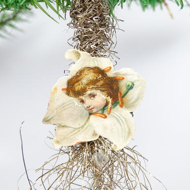 Early 1900's Victorian Die Cut Scrap and Tinsel Christmas Tree Ornament, Girl in Flower by exploremag