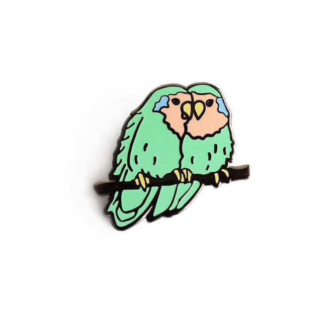 Lovebirds Enamel Pin - Bird Lapel Pin // Hard Enamel Pin, Cloisonné, Pin Badge by shinyapplestudio