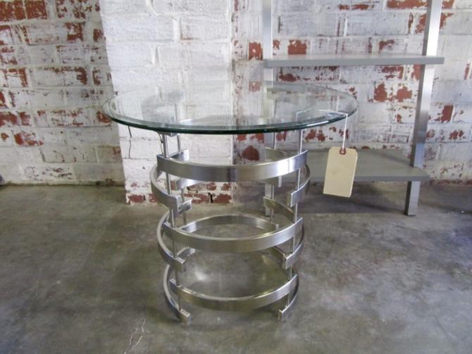 GLASS AND CHROME ACCENT TABLE