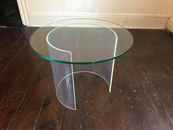 Mid-Century Modern Lucite and glass side table