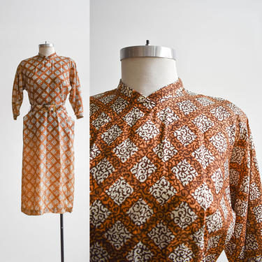 1940s Brown & White Wiggle Cocktail Dress with original tags by milkandice