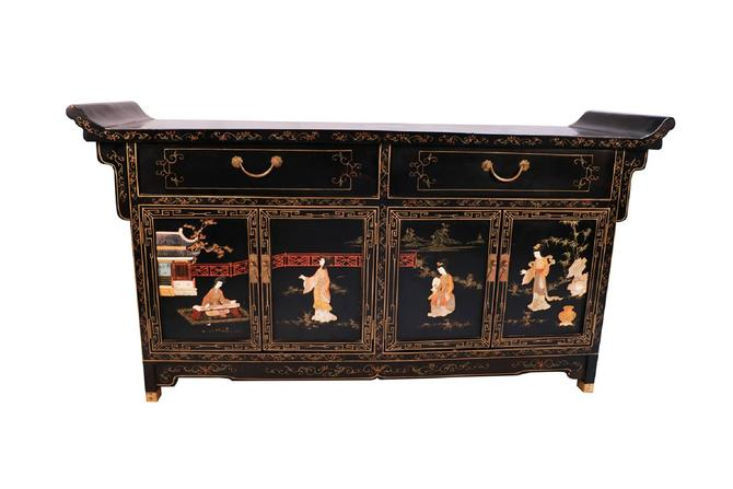 Chinese Black Lacquered Brass Mounted Mother of Pearl Inlaid Side Board Console Cabinet by Marykaysfurniture