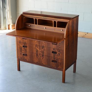 Mid-Century Secretary Desk Rosewood Danish Modern Roll-top Barrel by MadsenModern