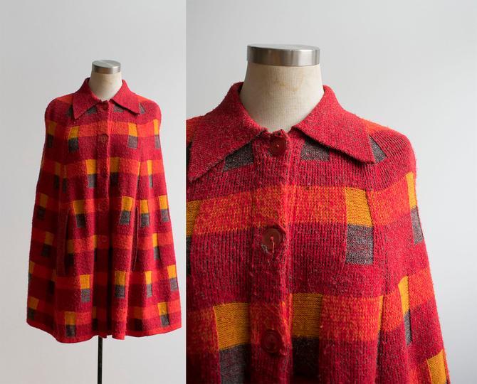 Bright Orange Vintage 1970s Knit Cape / 1970s Knit Poncho / Vintage Plaid Woven Cape / Vintage 1970s Poncho by milkandice