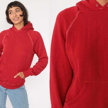Hooded Sweatshirt 80s Red Hoodie Sweatshirt Plain Shirt Hood 1980s Sweater Vintage Normcore Gym Sportswear Sweatshirt Extra Small xs by ShopExile
