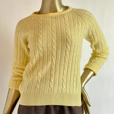 Yellow Retro Cable Knit Pullover Sweater 1970's fits S - M by BeggarsBanquet