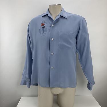 1950's Rayon Shirt- Soft Lavender Color - Gladiator Helmet & Spear Crest  - Men's Size Medium by GabrielasVintage