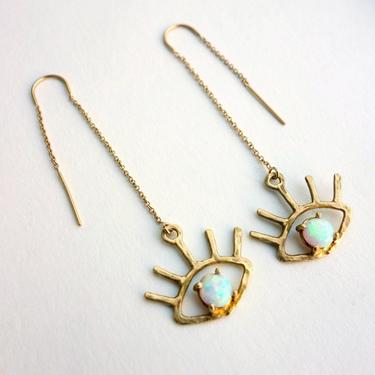 Beholder Eye Ear Threads-  Gold Plated Eyes with Opals Ear Threads - Handmade Gold and Opal Ear Threads - Eye Lash - Eyeball Earrings by RachelPfefferDesigns