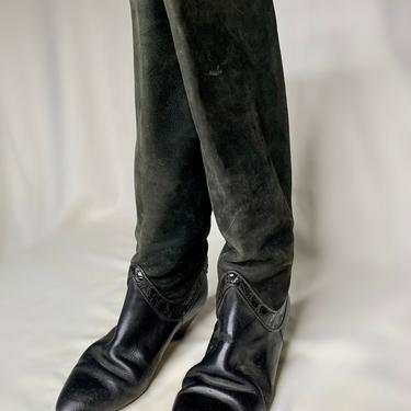 Black Suede and Leather Boots by krispyfringe