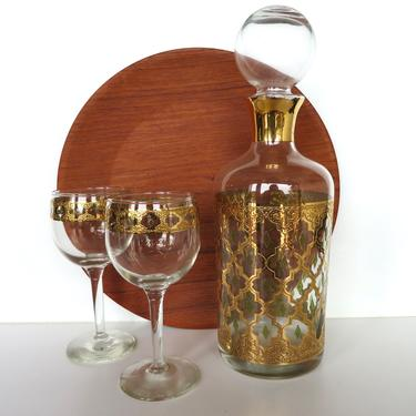 Culver Valencia 3 Piece Decanter And Wine Glass Set, Vintage 22kt Gold Wine Carafe And Stemmed Wine Glasses by HerVintageCrush