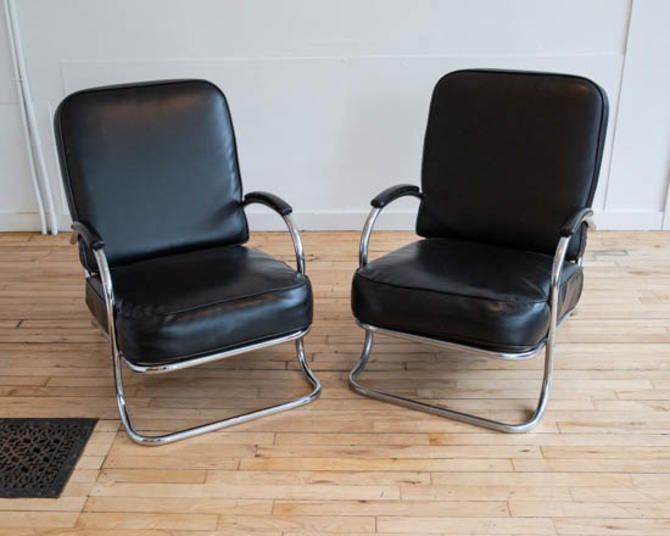 Kem Weber Art Deco Chrome Lounge Chairs