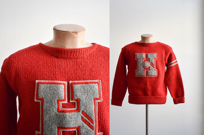1950s Red Knit Letterman Sweater by milkandice